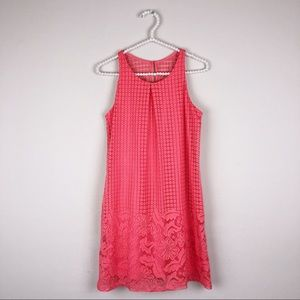 Byer California Coral pink shift lace summer dress